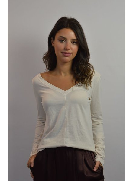 RAQUEL ALLEGRA V NECK FITTED TOP