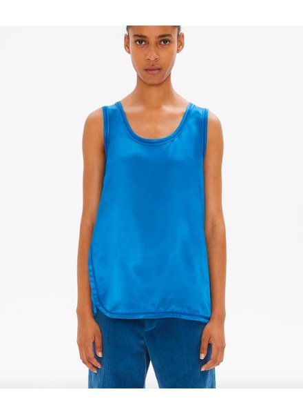 HELMUT LANG COVERSTITCH DETAIL VISCOSE TOP