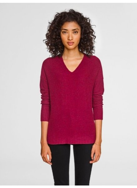 WHITE + WARREN WIDE RIB HEM VNECK CLARET