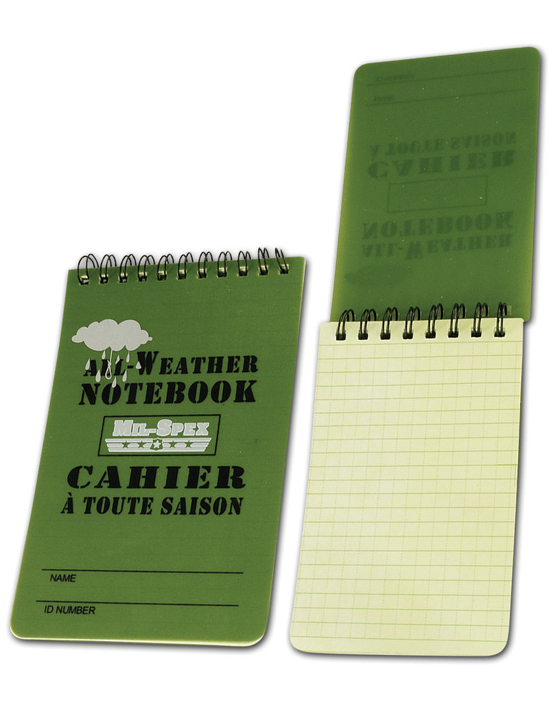 MIL SPEX NoteBook Calepin Cahier Tactical Imperméable 3X5 MIL-SPEX