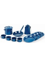 WORLD FAMOUS Camping Cookware Set 13 Piece Blue Enamel World Famous