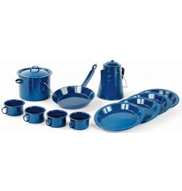 WORLD FAMOUS Set Batterie Cuisine Camping 13 Piece Émail Bleu World Famous