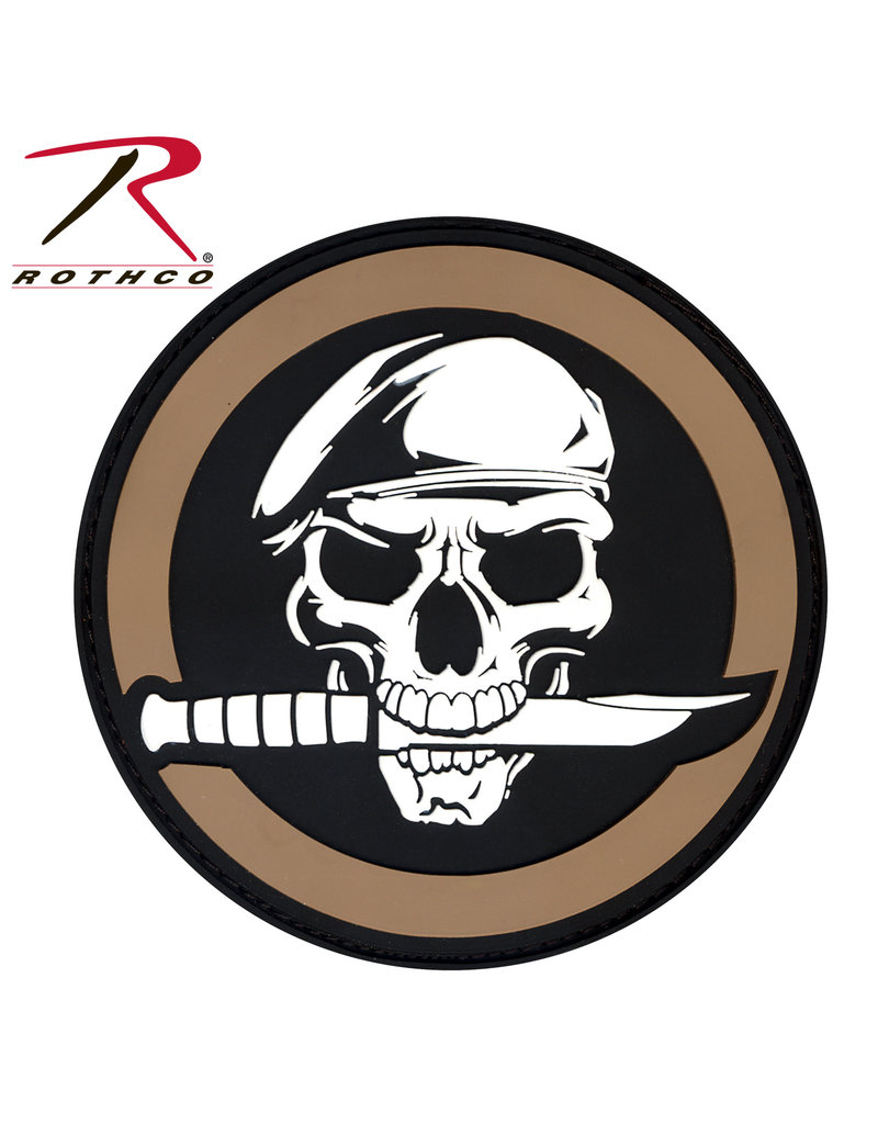 ROTHCO Patch Skull Knife Coyote PVC Velcro