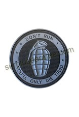 SHADOW ELITE Patch PVC Velcro Don't Run Grenade Grey