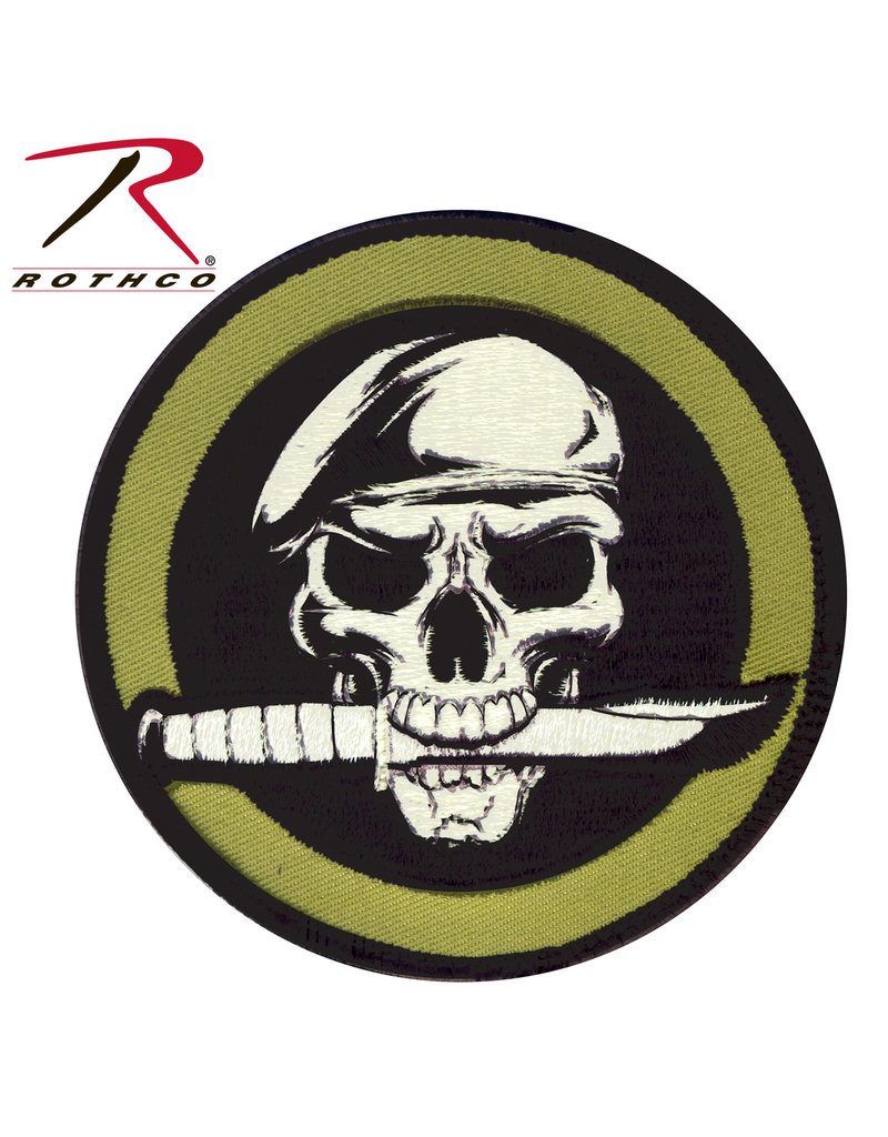 ROTHCO Patch Velcro Military Skull Knife Olive (Rond)
