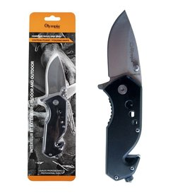 "OLYMPIA Olympia Emergency Folding Knife Black 6 ""Stainless"