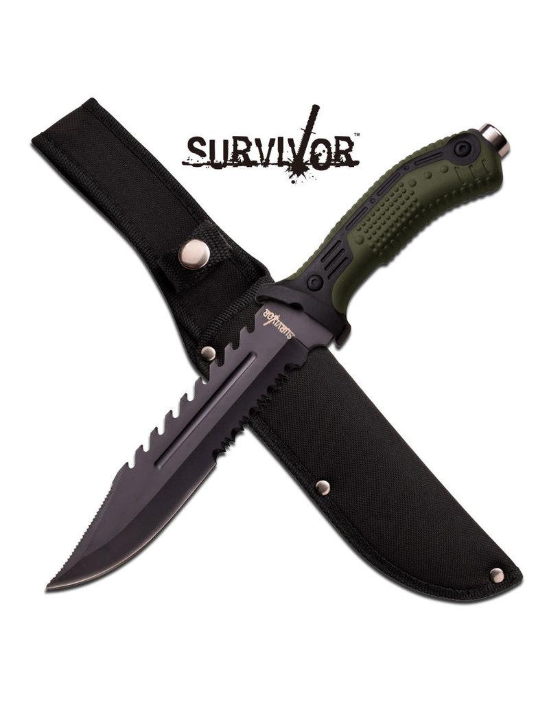 SURVIVOR Couteau a Lame Fixe Vert Survivor