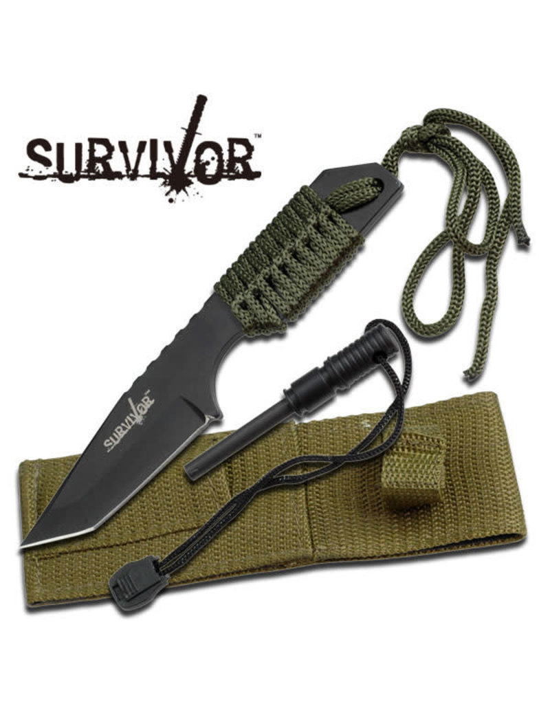 SURVIVOR Couteau Survie Avec Allume-Feux et Paracorde Survivor HK-106320