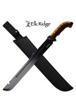 """ELK RIDGE 23.5 """"Black Orange Serrated Machete ELK RIDGE"""