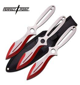 PERFECT-POINT Couteau De Lancer Perfect Point Couleur Argent et Rouge Set de 3