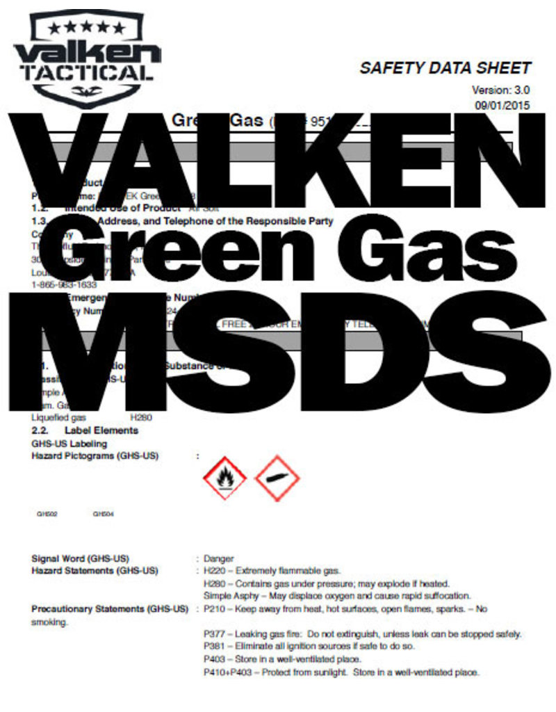 VALKEN Green Gas 227g Airsoft Valken