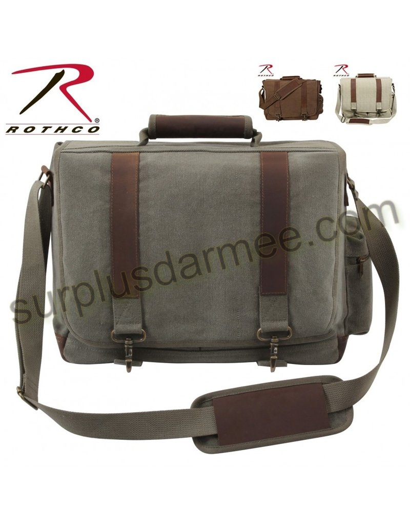 ROTHCO Rothco Vintage Canvas  Laptop Bag  Leather
