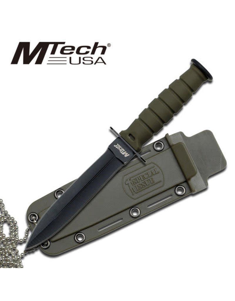 M-TECH Couteau Mini Tactical Lame Fixe Chaîne de cou