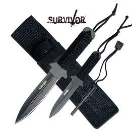 SURVIVOR Combo Couteaux Fixe de Survie Allume Feux Survivor
