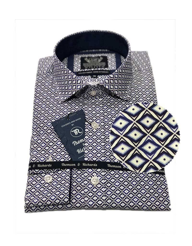 Thomson & Richards Giroud Dress Shirt | Cobalt