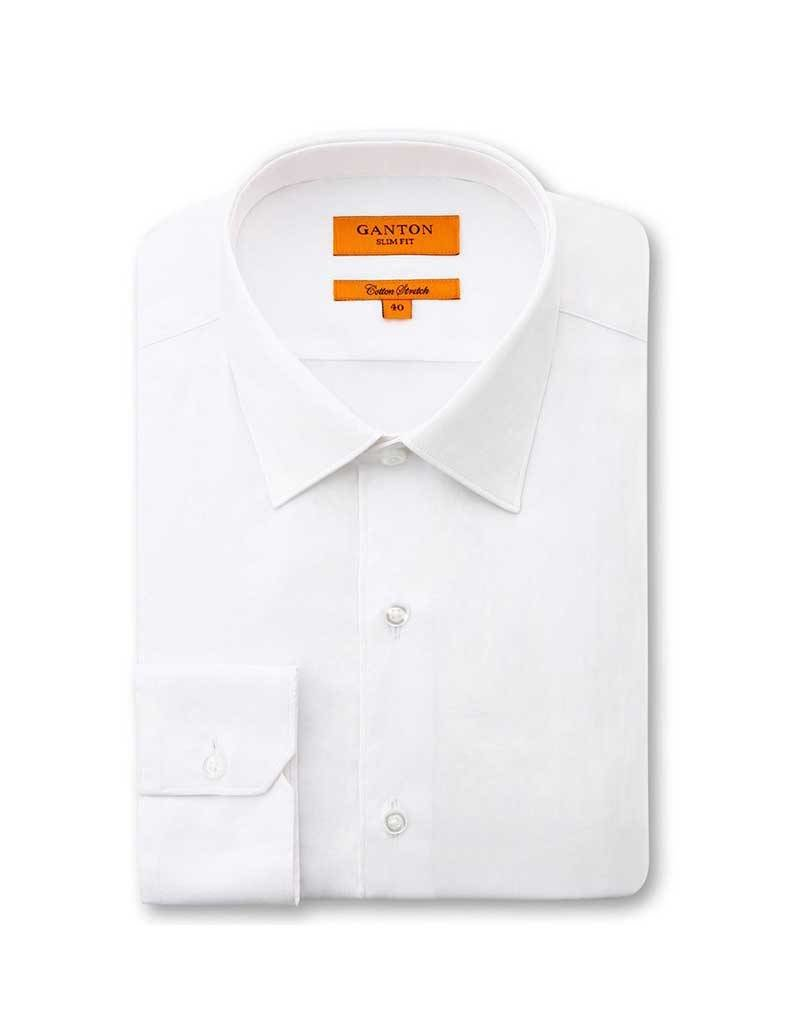Ganton White Business Shirt | Cotton Stretch