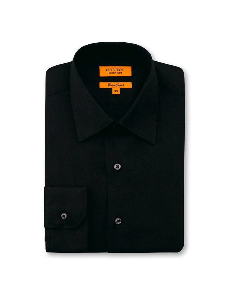 Ganton Black Business Shirt | Cotton Stretch