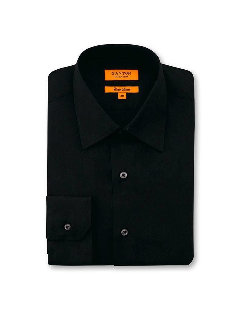 Ganton Slim Stretch Business Shirt   Black