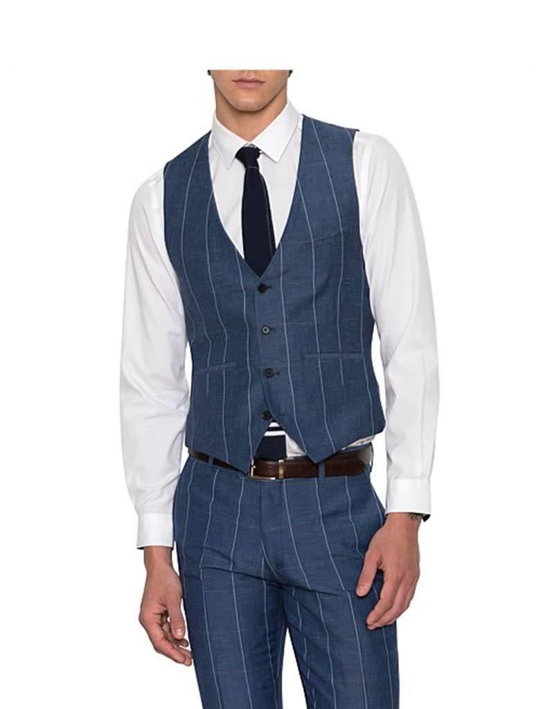 Uber Stone Nick Check Vest | Blue