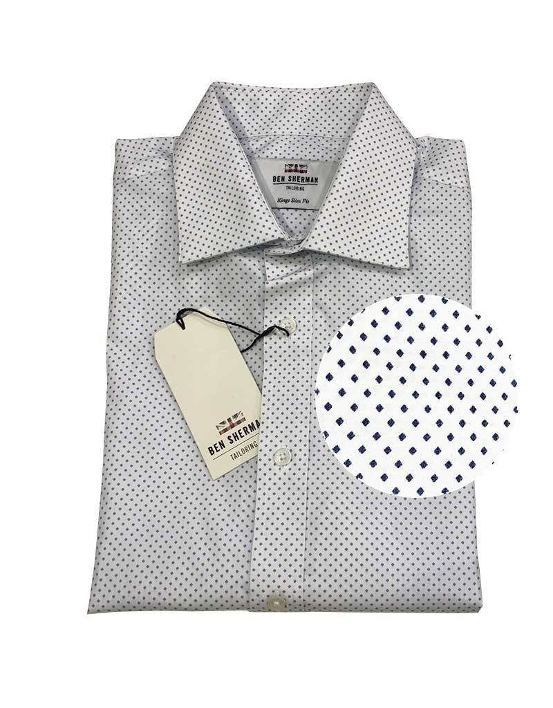 Ben Sherman Tailored Shirt | White Blue Diamond