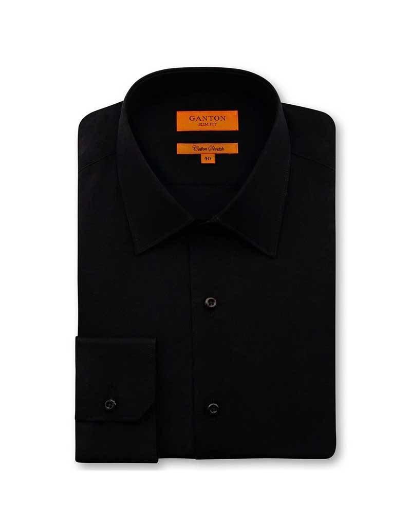 Ganton Black Cotton Stretch Slim Fit | Black 7014SS