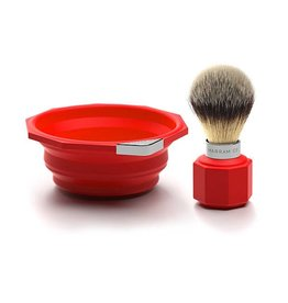 Marram Co POP! Travelling Shaving Brush and Dish | Red