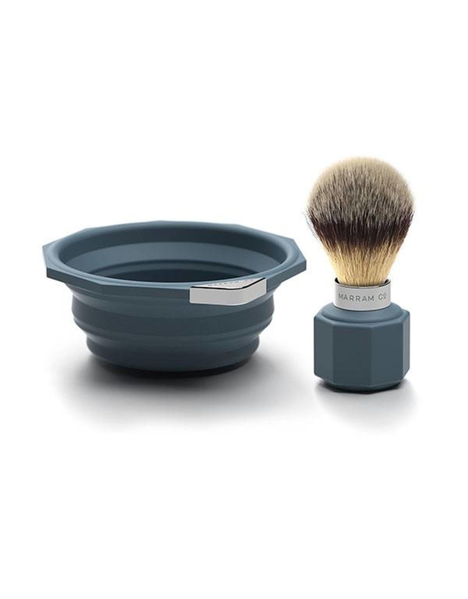 Marram Co POP! Travelling Shaving Brush and Dish | Blue