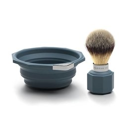 Marram Co POP! Travelling Shaving Brush and Dish | Blue