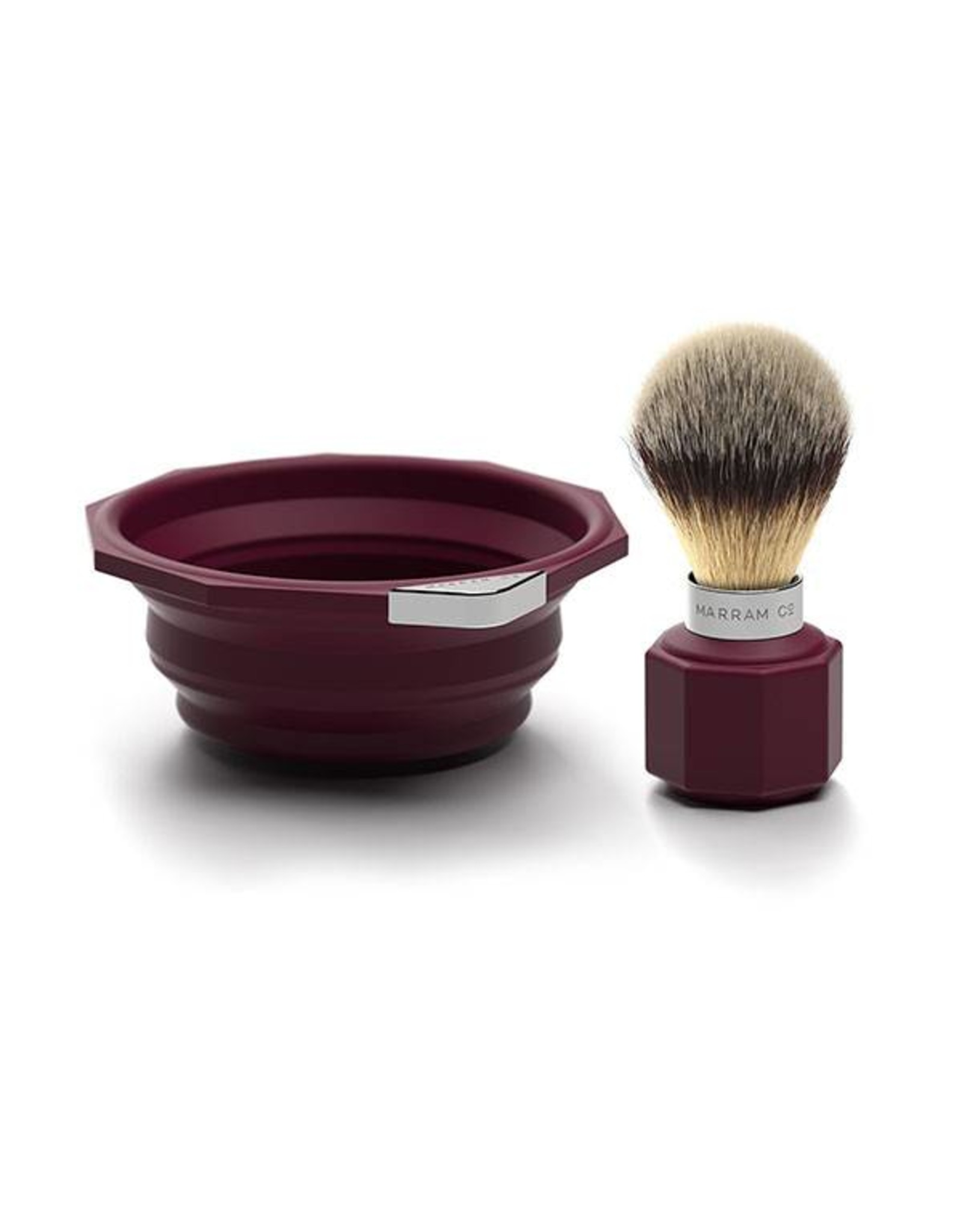 Marram Co POP! Travelling Shaving Brush and Dish   Burgundy