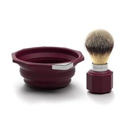 Marram Co POP! Travelling Shaving Brush and Dish | Burgundy
