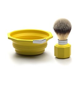 Marram Co POP! Travelling Shaving Brush and Dish | Yellow