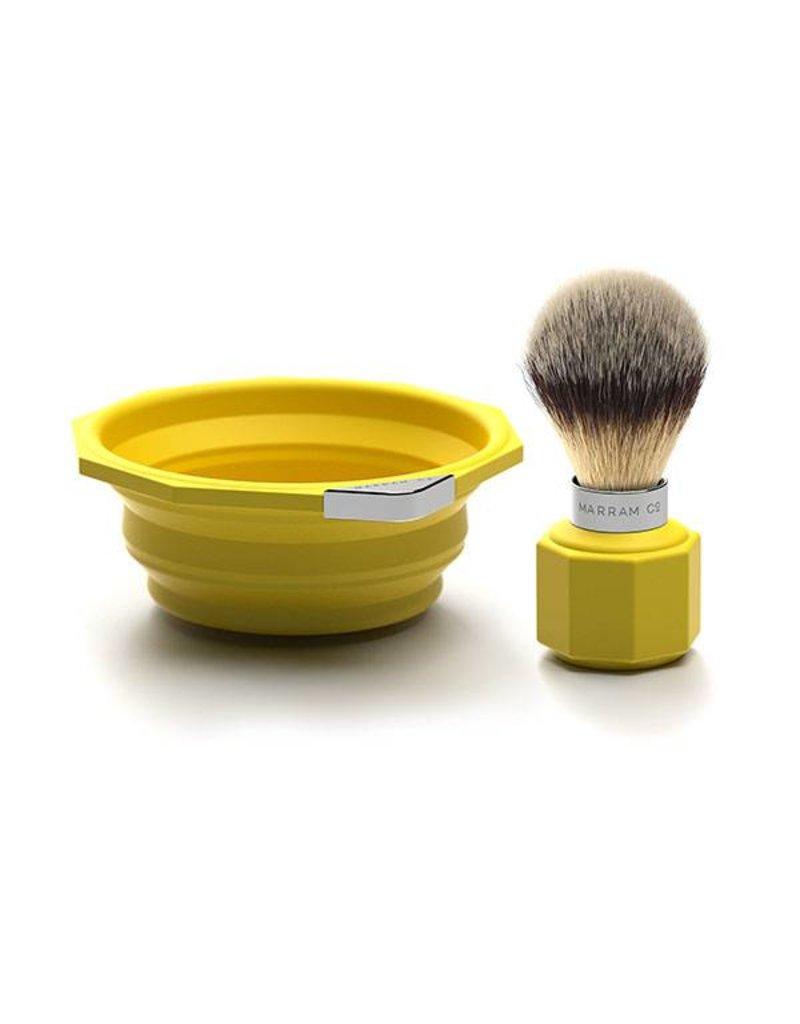 Marram Co POP! Travelling Shaving Brush and Dish | Yellow