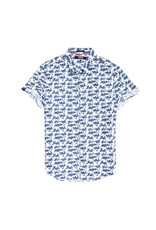 Superdry Poolside Printed Short Sleeve Shirt | White w Blue