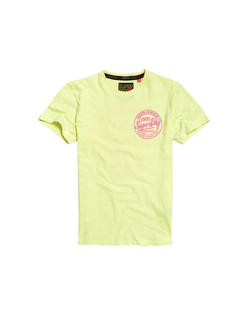 Superdry Ticket Type Box Fit Tee | Bleached Ultra Lemon