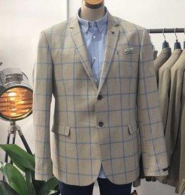 Thomson & Richards Thomson Check Linen Jacket   Tan