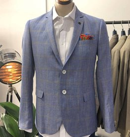 Thomson & Richards Thomson Check Linen Jacket | Light Blue