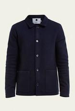 No Nationality Boiled Wool Jacket   Navy
