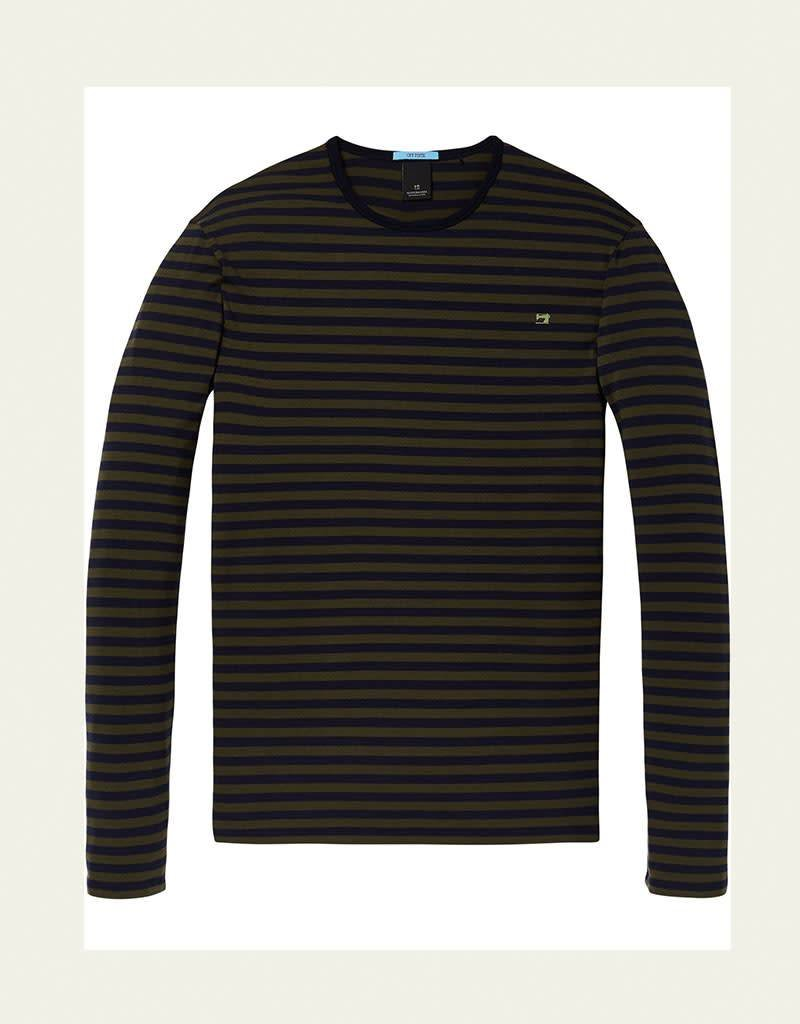 Scotch & Soda Striped Cotton / Elastane LS Tee | Moss Green