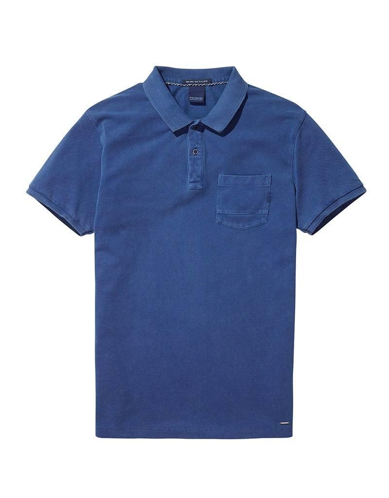 Scotch & Soda Garment Dyed Regular Fit Polo 144241| True Blue