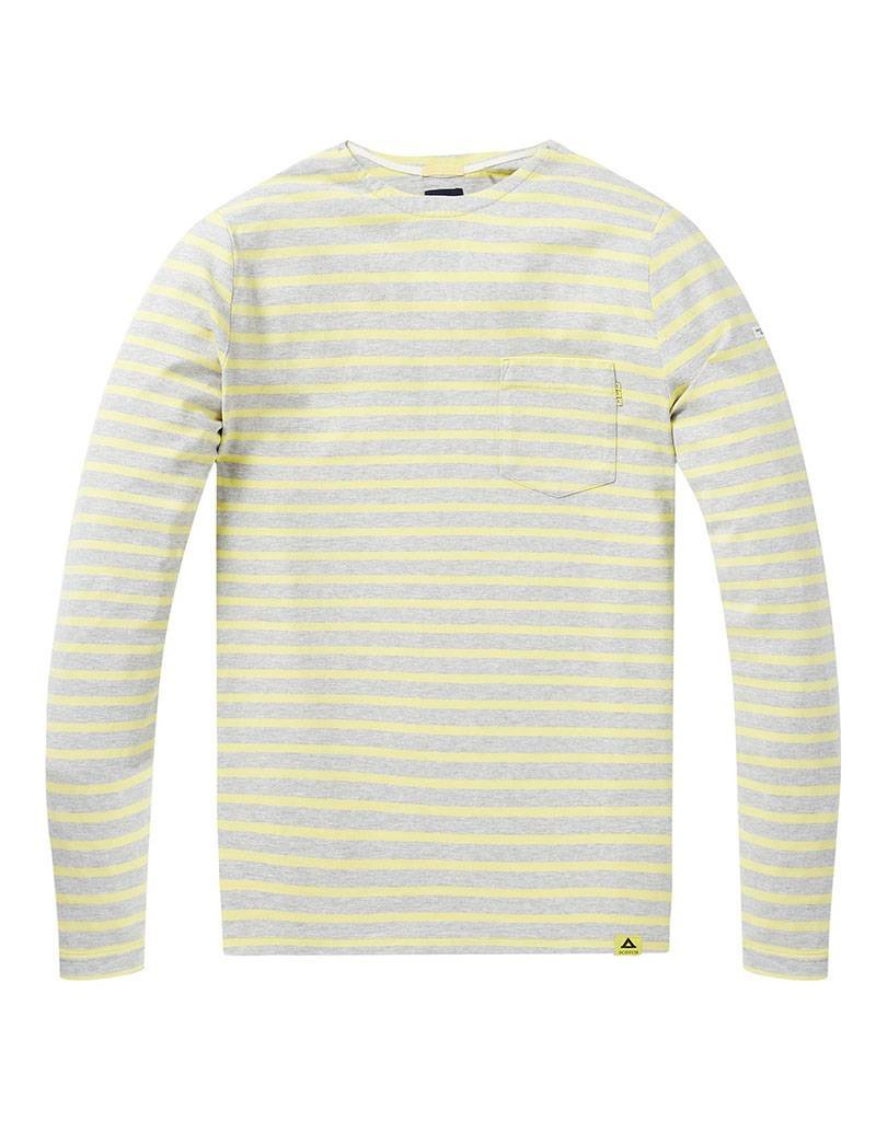 Scotch & Soda Classic Bretton Long Sleeve Tee 144205 |  Moss / Creme