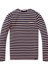 Scotch & Soda Classic Bretton Long Sleeve Tee 144205 | Navy / Pink