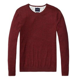 Scotch & Soda Cotton Cashmere Crew Neck Knit 144247 | Red Melange