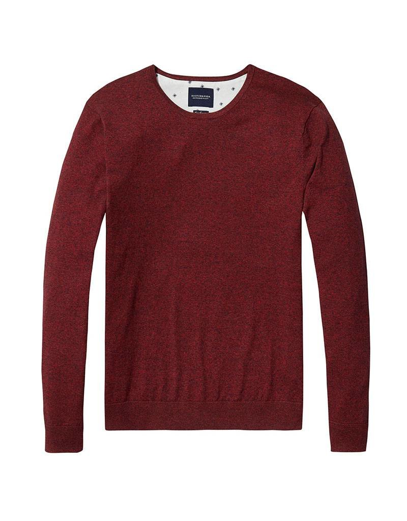 Scotch & Soda Cotton Cashmere Crew Neck Knit 144247 | Red Melange
