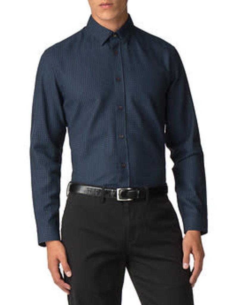 Ben Sherman Herringbone Polka Shirt | Dark Navy