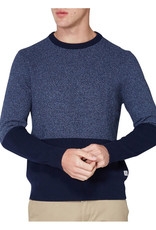 Ben Sherman Waffle Texture Two tone Crew Neck Knit | Blue