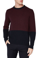 Ben Sherman Waffle Texture Two tone Crew Neck Knit | Red / Navy