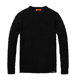 Scotch & Soda Chunky Cable knit Pullover | Black
