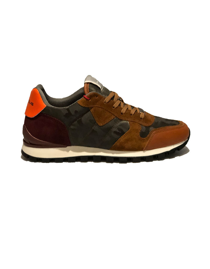Ambitious Leather and Textile Casual Walking Shoe | Camel / Forest Green