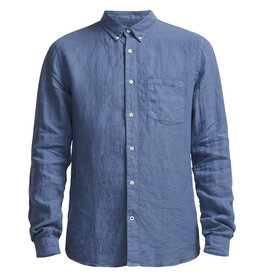 No Nationality New Derek Linen Shirt | Blue Horizon
