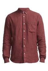 No Nationality New Derek Linen Shirt | Red Slate